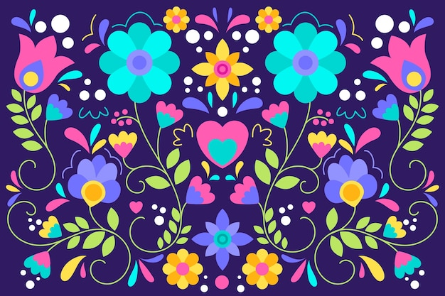 Colourful mexican pattern background in flat design