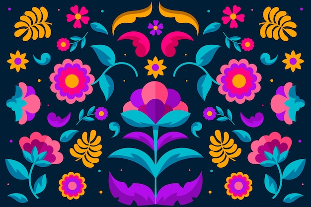 Colourful mexican wallpaper with floral ornaments