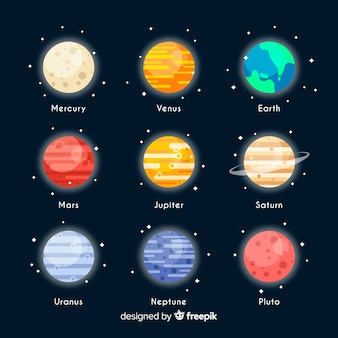 Colourful milky way planets set