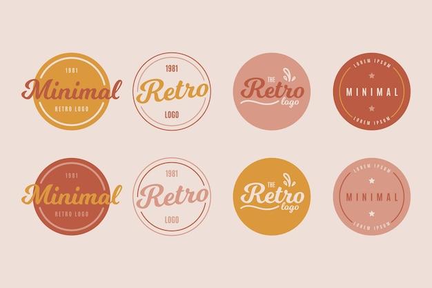 レトロなスタイルのカラフルな最小限のロゴコレクション
