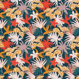 다채로운 현대 정글 단풍 그림 실루엣 패턴