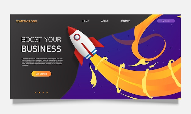 Colourful modern landing page with rocket and place for text