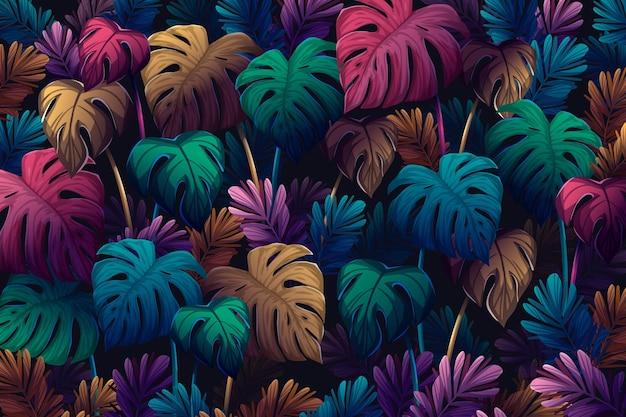 カラフルなモンステラの葉夏の背景