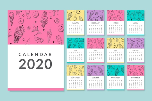 Colourful monthly 2020 calendar template
