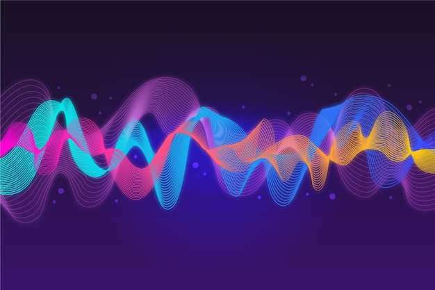Colourful music sound waves background