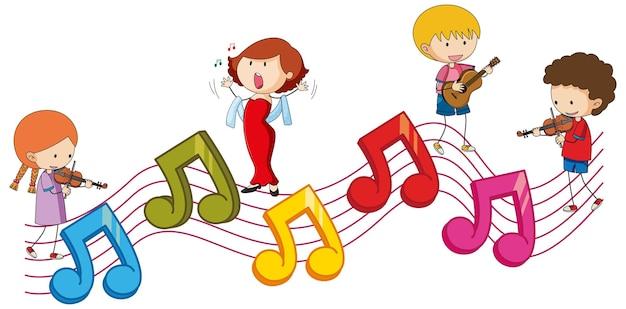Simboli colorati di melodia musicale con molti personaggi dei cartoni animati per bambini scarabocchiati