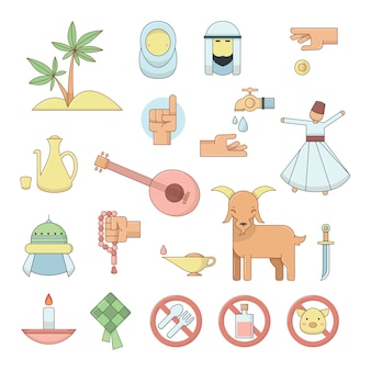 Colourful muslim religion culture icons.