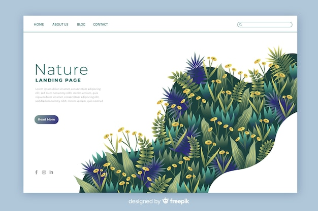 Colourful nature landing page template