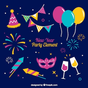 Colourful new year party elements collection