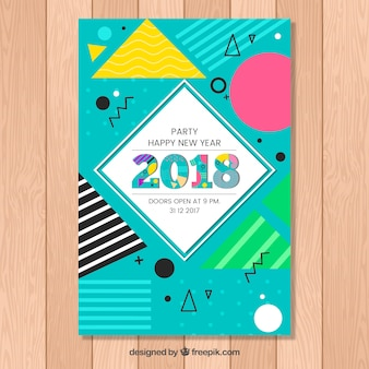 Colourful new year's party poster in memphis style
