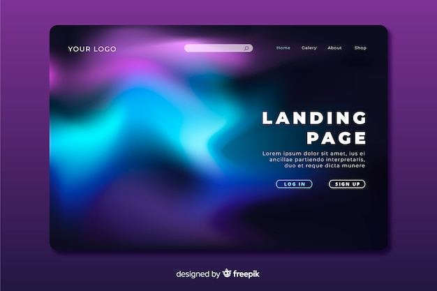 Colourful night sky landing page concept