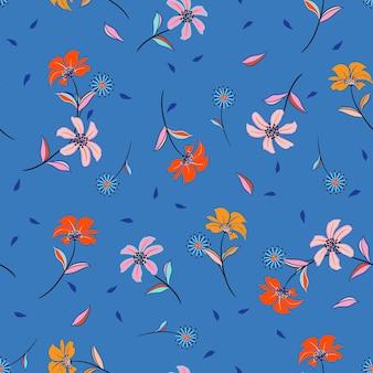 귀여운 야생화 패턴의 화려한 꽃무늬. 식물 모티브는 그림자와 함께 무작위로 흩어져 있습니다.