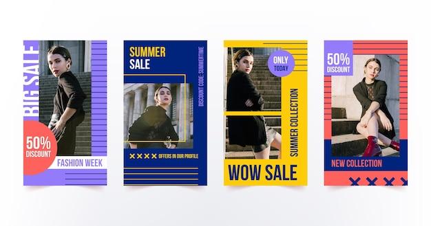Pacchetto colorato di storie di vendita di moda con foto