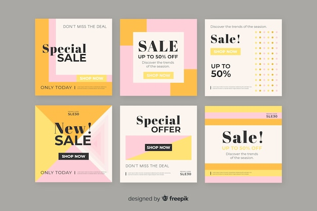 Colourful pack of modern sale banners for social media