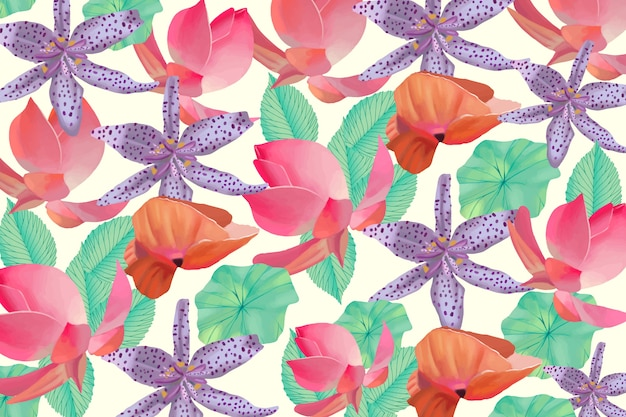Colourful painted floral background