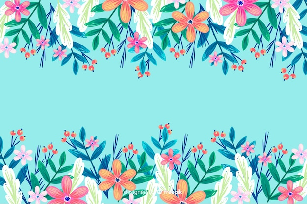 Colourful painted flowers background