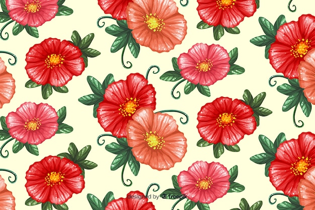 Colourful painted flowers pattern background