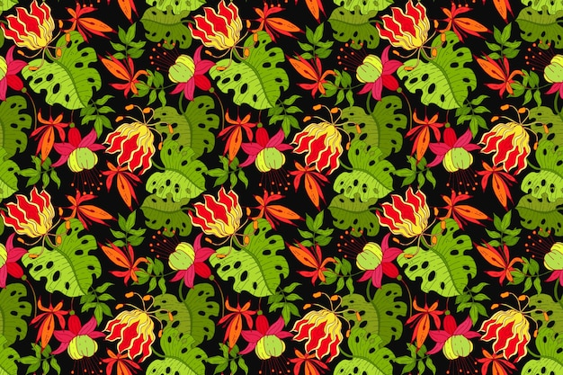 Colourful painted tropical floral pattern