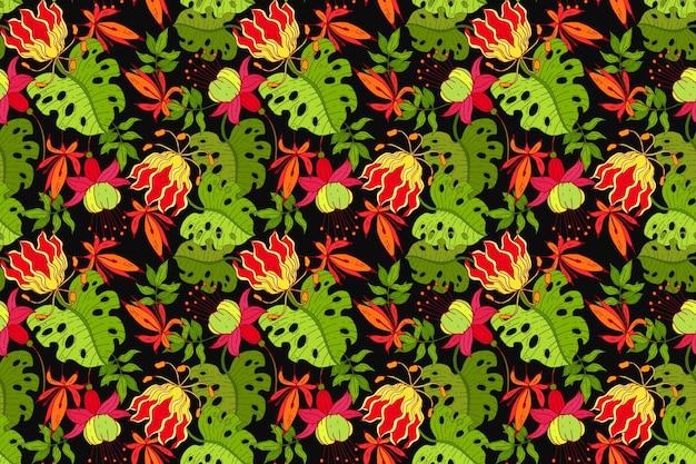 다채로운 그린 된 열 대 꽃 패턴