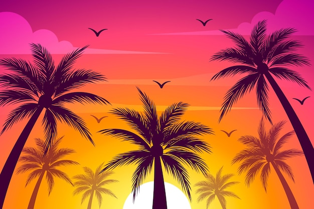 Colourful palm silhouettes wallpaper