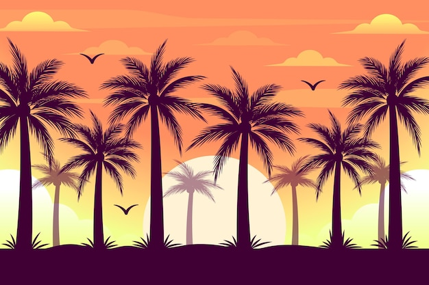 Colourful palm trees silhouettes background