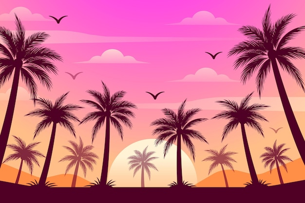 Colourful palm trees silhouettes wallpaper