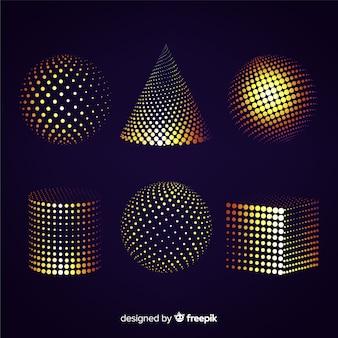 Colourful particle 3d geometric shapes set