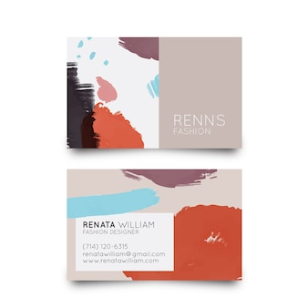 Colourful pastel stains for business card