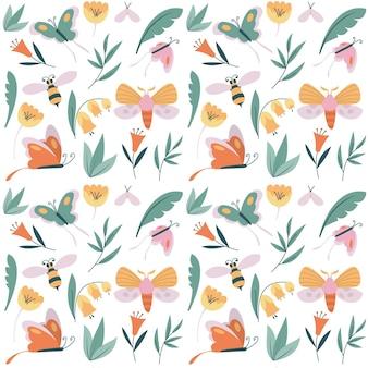 さまざまな昆虫と花とカラフルなパターン