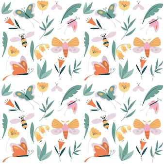 Colourful pattern with different insects and flowers