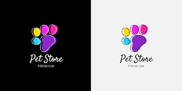 Colourful pet cat dog paw shop animal logo template for pet shop
