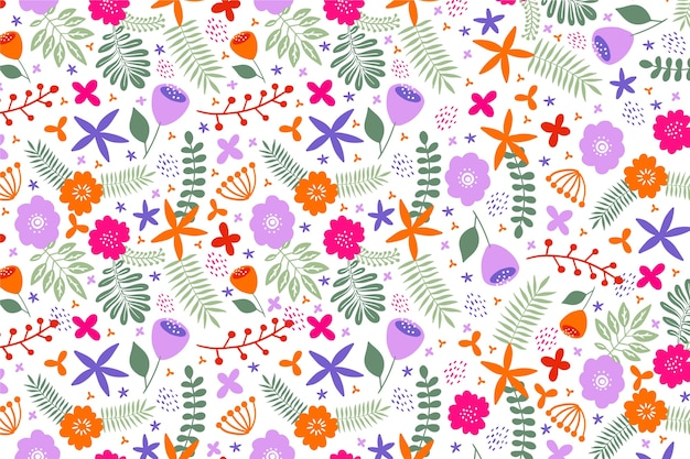 Colourful petals of flowers ditsy print background