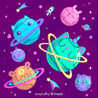 Colourful planets from solar system set