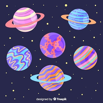 Colourful planets in the solar system set