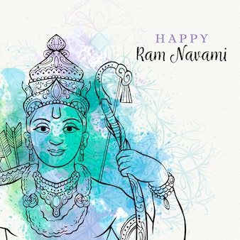 Colourful ram navami with watercolor stains