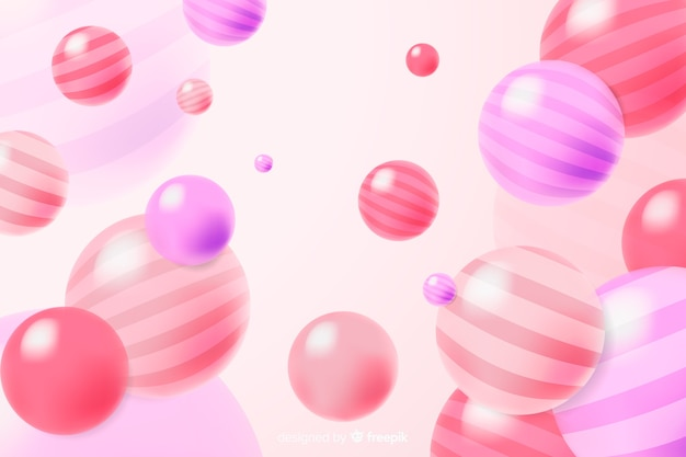 Colourful realistic flowing glossy balls background