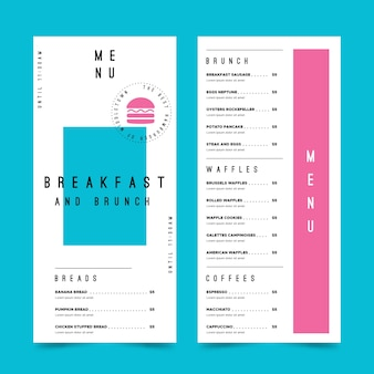 Colourful restaurant menu template