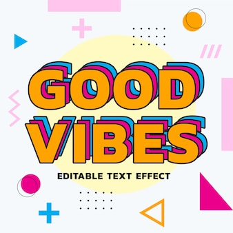 Colourful retro text effect vector template