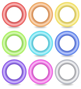 Colourful ring buttons