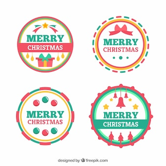Colourful round merry christmas labels