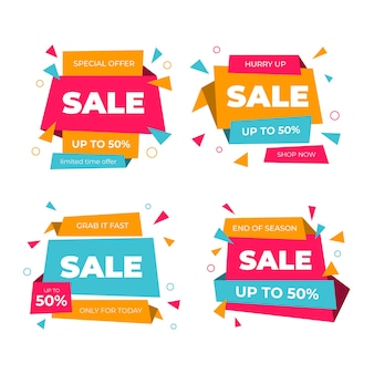 Colourful sale badges collection