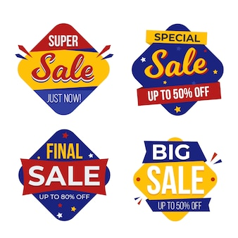 Colourful sale banner layout collection