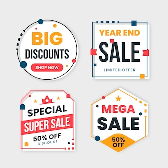 Colourful sales banners collection with cute frames