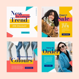 Colourful sales instagram post collection