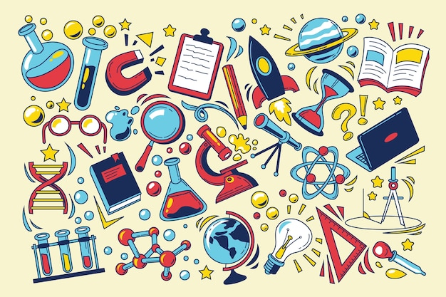 Colourful science education background Free Vector