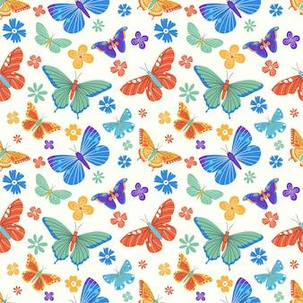 나비와 꽃 요소와 다채로운 원활한 패턴