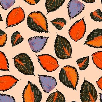 손으로 다채로운 원활한 패턴 그리기 식물 잎