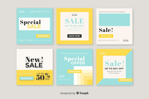 Colourful set of modern sale banners for social media