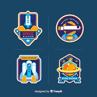 Colourful set of modern space stickers