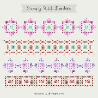 Colourful sewing stich borders